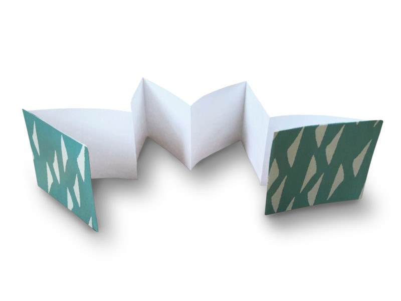 Detailed step for making a folded paper book.