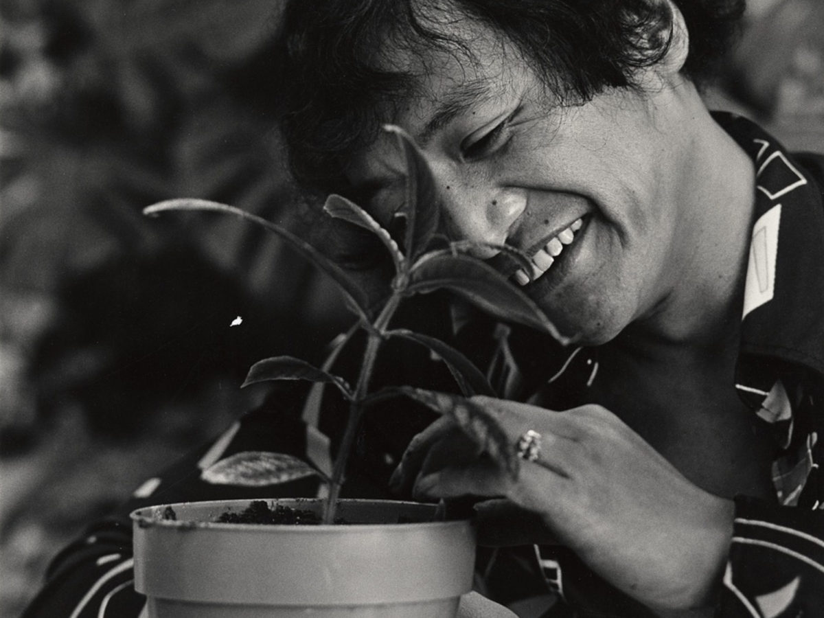 A man smiles fondly at a plant.