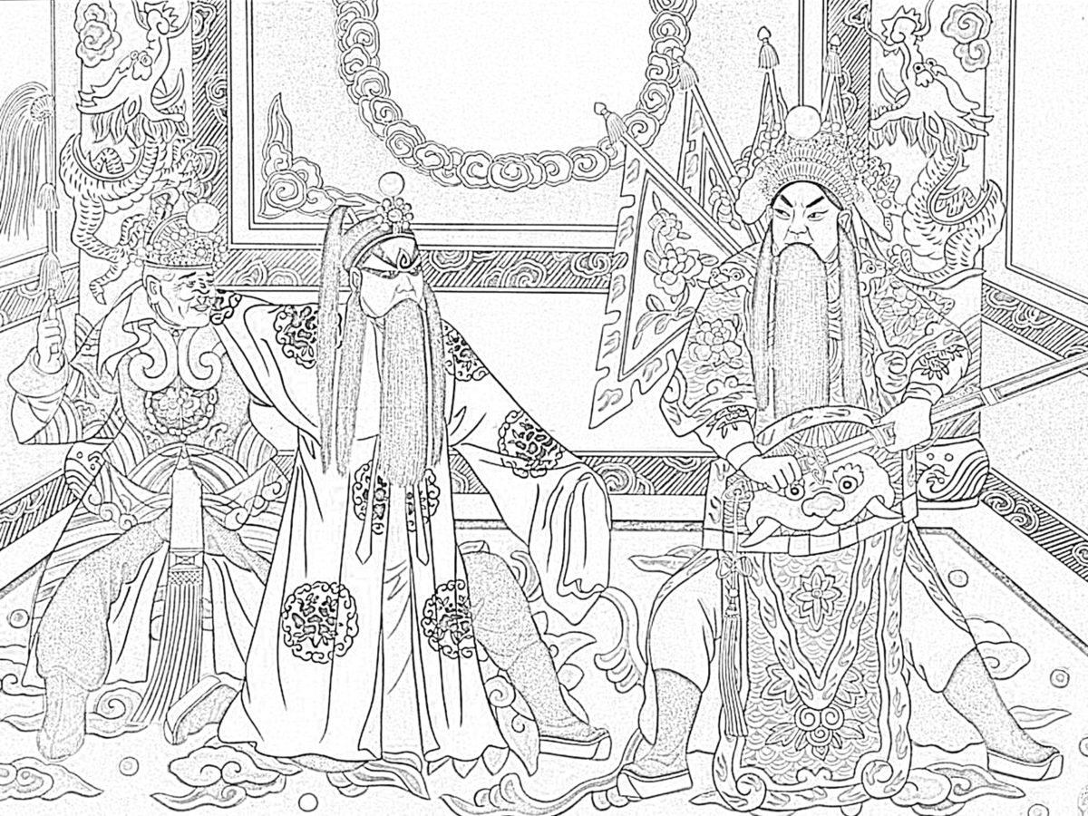 Chinese opera coloring page.