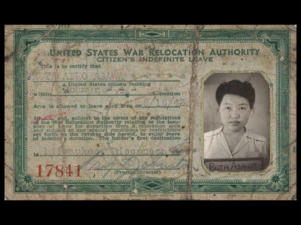 Ruth Asawa's internment camp identification card.